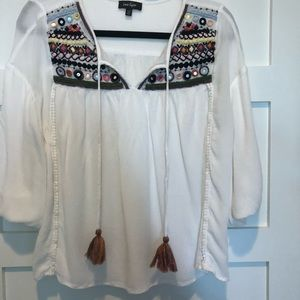 Boho style embroidered top
